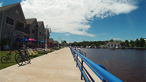 South side river boardwalk in Sheboygan, Wisconsin