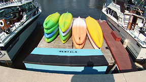 Kayak rentals south side river boardwalk in Sheboygan, Wisconsin